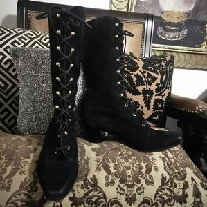 ❤ESCADA VICTORIAN LACE UP BOOTS